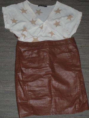 Alba Moda Leather Skirt bronze-colored leather
