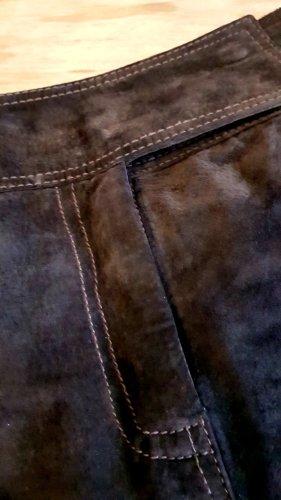 Hallhuber Skórzana spódnica ciemnobrązowy