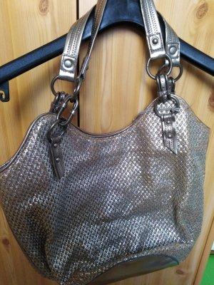 Echtledertasche Silber-Gold