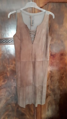 Montgomery Skórzana sukienka camel Skóra