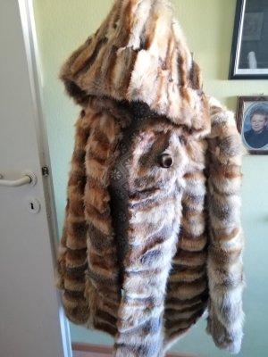 Manteau de fourrure multicolore mohair