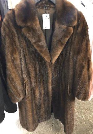 Premium Vintage Manteau de fourrure brun foncé-brun fourrure