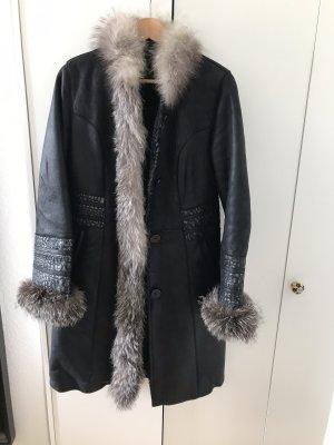 Vintage Futrzany płaszcz Wielokolorowy Futro