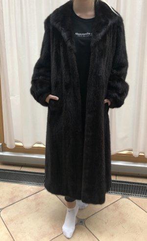 Futrzany płaszcz czarno-brązowy-ciemnobrązowy
