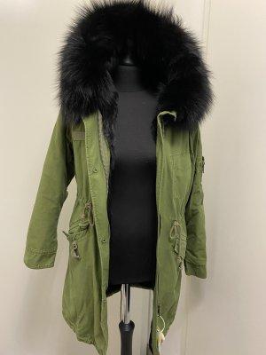 Futrzany płaszcz czarny-khaki