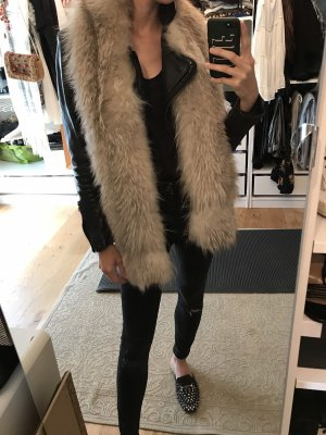 Fur vest grey brown-natural white