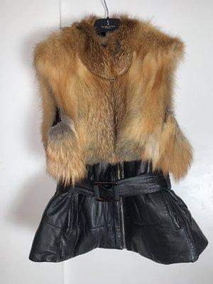 Fur Jacket black-cognac-coloured pelt