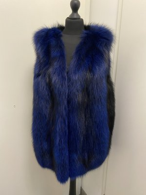 Gilet en fourrure noir-bleu