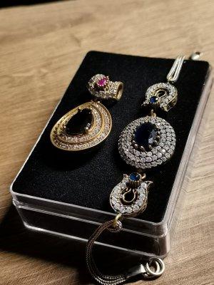 Echtsilber Set Armband Anhänger und Ring Vintage Barock Stil