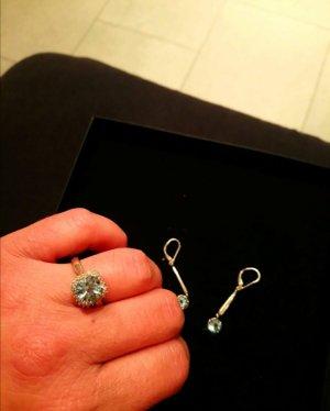 Echtsilber SET mit Diamanten 3 fach gestempelt