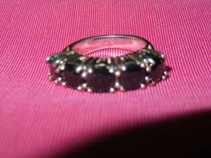 Zilveren ring lichtgrijs-donkerblauw Zilver