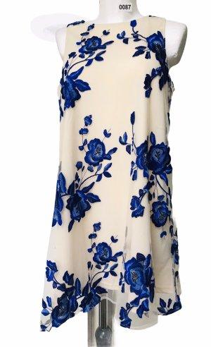 Eci Damen Kleid Creme Weiß Blau Blumen Spitze M