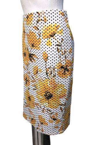 Eci New York Damen Rock Blumen Punkte Weiß Gelb L