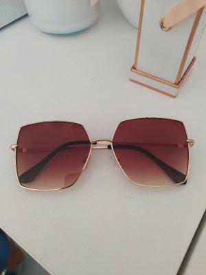Eckige Sonnenbrille braun gold