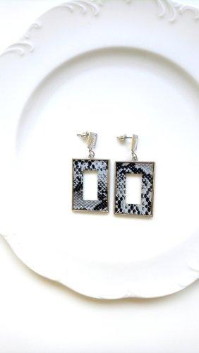 Zdobione kolczyki czarny-srebrny