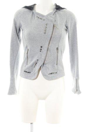 Chaqueta de tela de sudadera gris claro moteado look casual