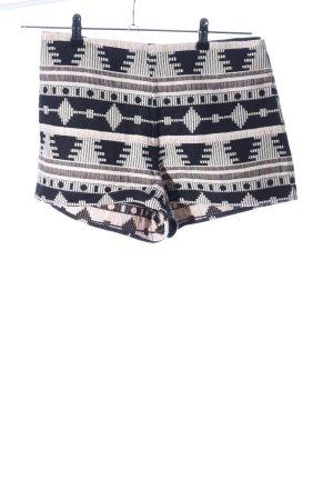 Ecote High-Waist-Shorts wollweiß-schwarz grafisches Muster Casual-Look