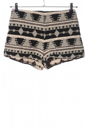 Ecote Hot Pants creme-schwarz grafisches Muster Casual-Look
