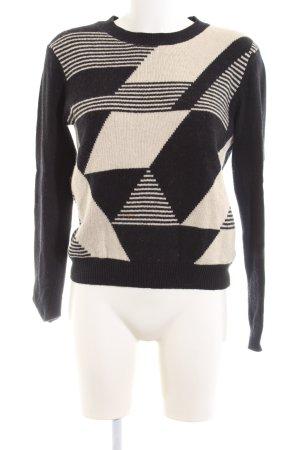 Ecote Rundhalspullover schwarz-creme grafisches Muster Casual-Look