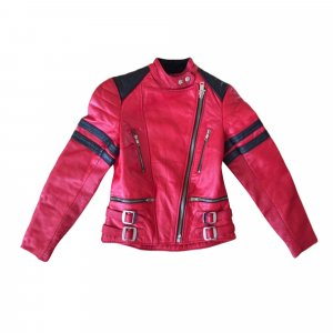 Ecthes Leather red biker jacket