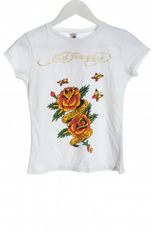 Ed Handy T-Shirt weiß Motivdruck Casual-Look
