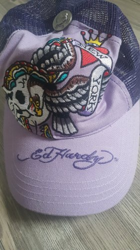 Ed Hardy Sombrero de ala ancha lila-violeta grisáceo Algodón