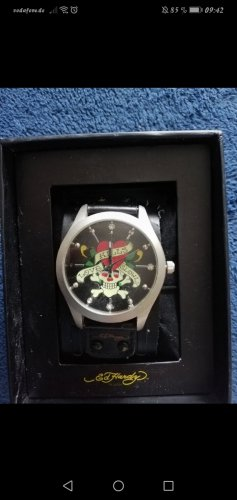 Ed Hardy Watch With Leather Strap black