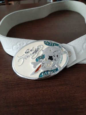 Ed Hardy Faux Leather Belt white