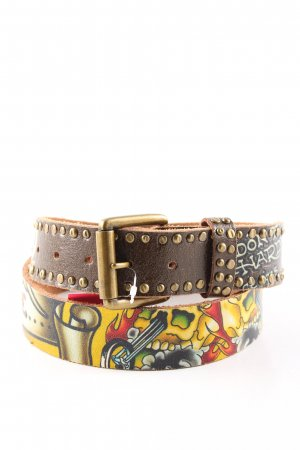Ed Hardy Leather Belt abstract pattern casual look