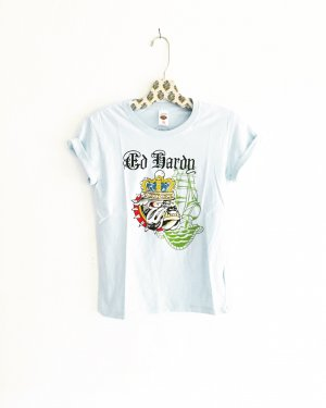 ed hardy shirt / hellblau / t-shirt / light blue / dog