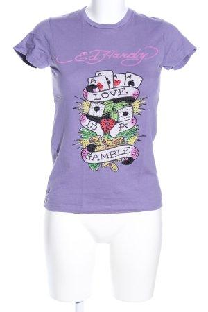 Ed Hardy T-Shirt lila Motivdruck Casual-Look