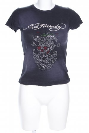 Ed Hardy T-Shirt blau Motivdruck Casual-Look