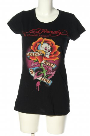 Ed Hardy T-Shirt schwarz Motivdruck Casual-Look