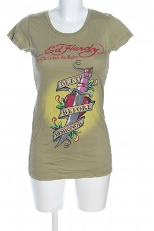 Ed Hardy T-Shirt khaki-rot Motivdruck Casual-Look