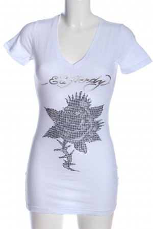 Ed Hardy V-Ausschnitt-Shirt weiß Blumenmuster Casual-Look