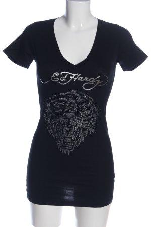 Ed Hardy V-Ausschnitt-Shirt schwarz Motivdruck Casual-Look