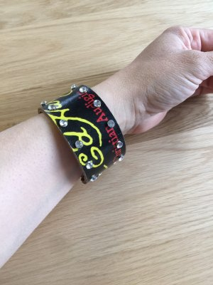 Ed Hardy by Christian Audigier Skórzane ozdoby na ręce  czarny-żółty