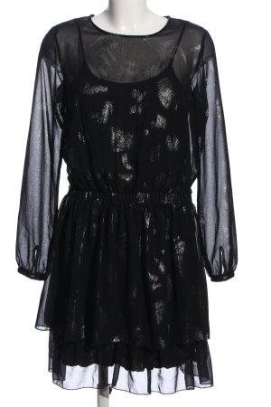 edc A-Linien Kleid schwarz-silberfarben abstraktes Muster Elegant