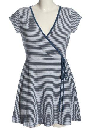 edc A-Linien Kleid blau-weiß Allover-Druck Casual-Look