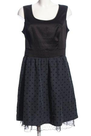 edc Abendkleid schwarz-hellgrau Punktemuster Elegant