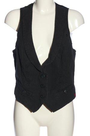 edc Anzugweste schwarz-weiß Streifenmuster Casual-Look