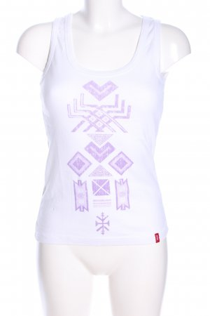 edc Basic Top white-lilac graphic pattern casual look
