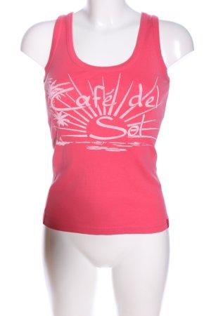 edc Top basic rosa-bianco Stampa a tema stile casual