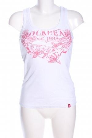 edc Basic Top weiß-pink Motivdruck Casual-Look