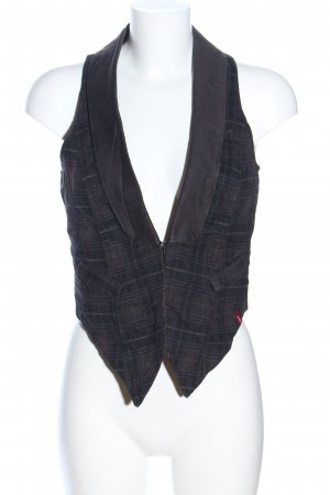 edc Biker Vest light grey-black check pattern business style