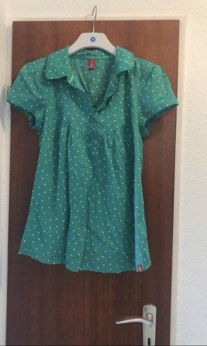 EDC Bluse halbarm grün weiß gepunktet