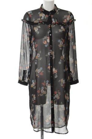 edc Blusenkleid schwarz Blumenmuster Transparenz-Optik