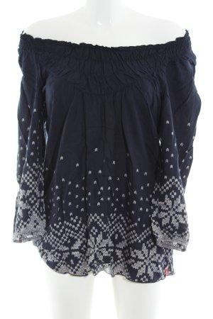 edc by Esprit Carmen blouse blauw-lichtgrijs grafisch patroon casual uitstraling