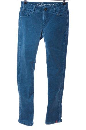 edc by Esprit Pantalone di velluto a coste blu caratteri ricamati stile casual