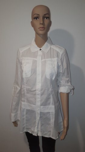 Edc by Esprit Damen Bluse Hemd Krempelbluse weiß Größe S Longbluse